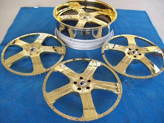 Gold rims and wheels